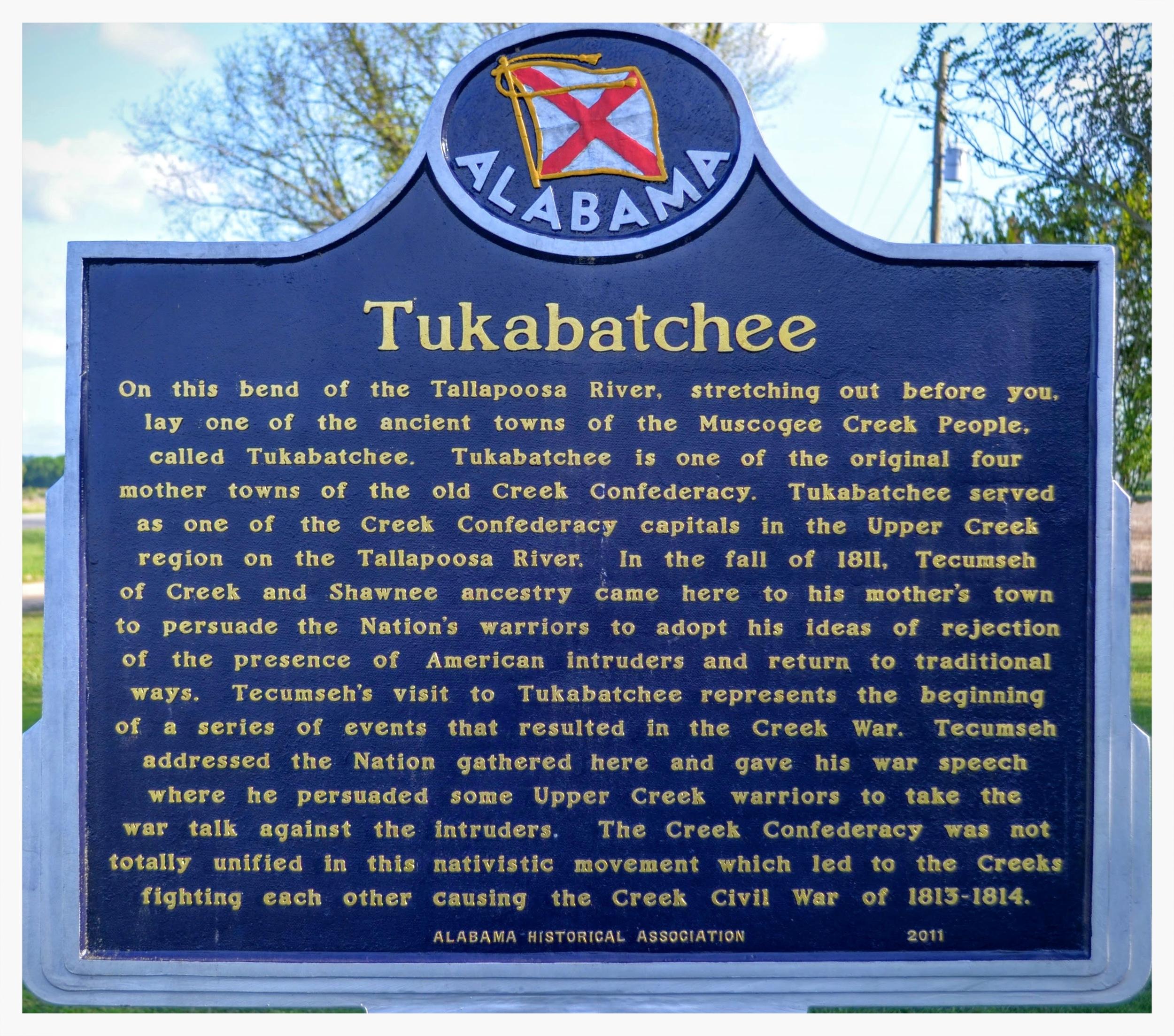 Tukabatchee historical marker, Elmore County, Alabama