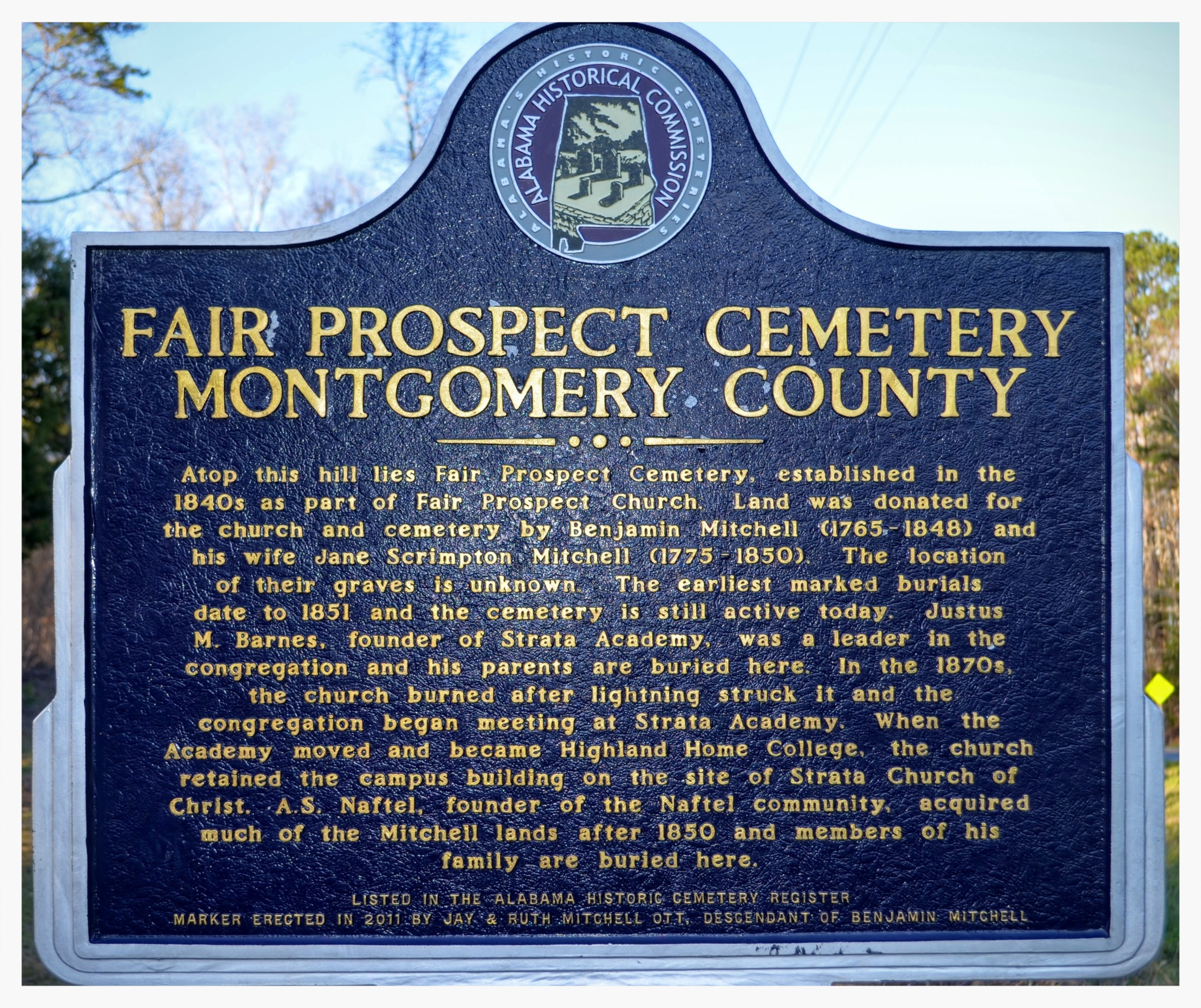 Fair Prospect Cemetery historical marker, Montgomery County, Alabama