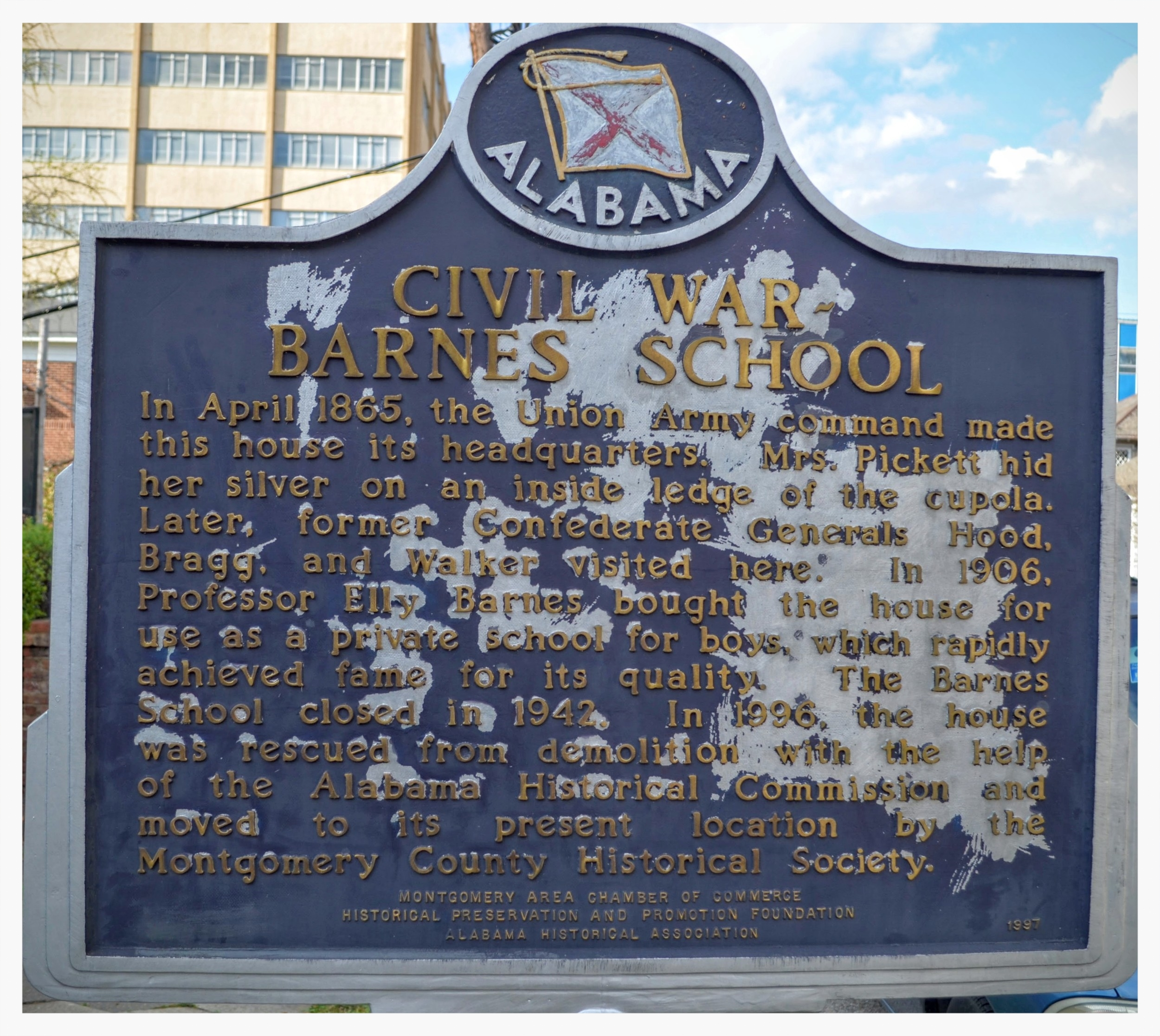 Barnes School historical marker, Montgomery, Montgomery County, Alabama