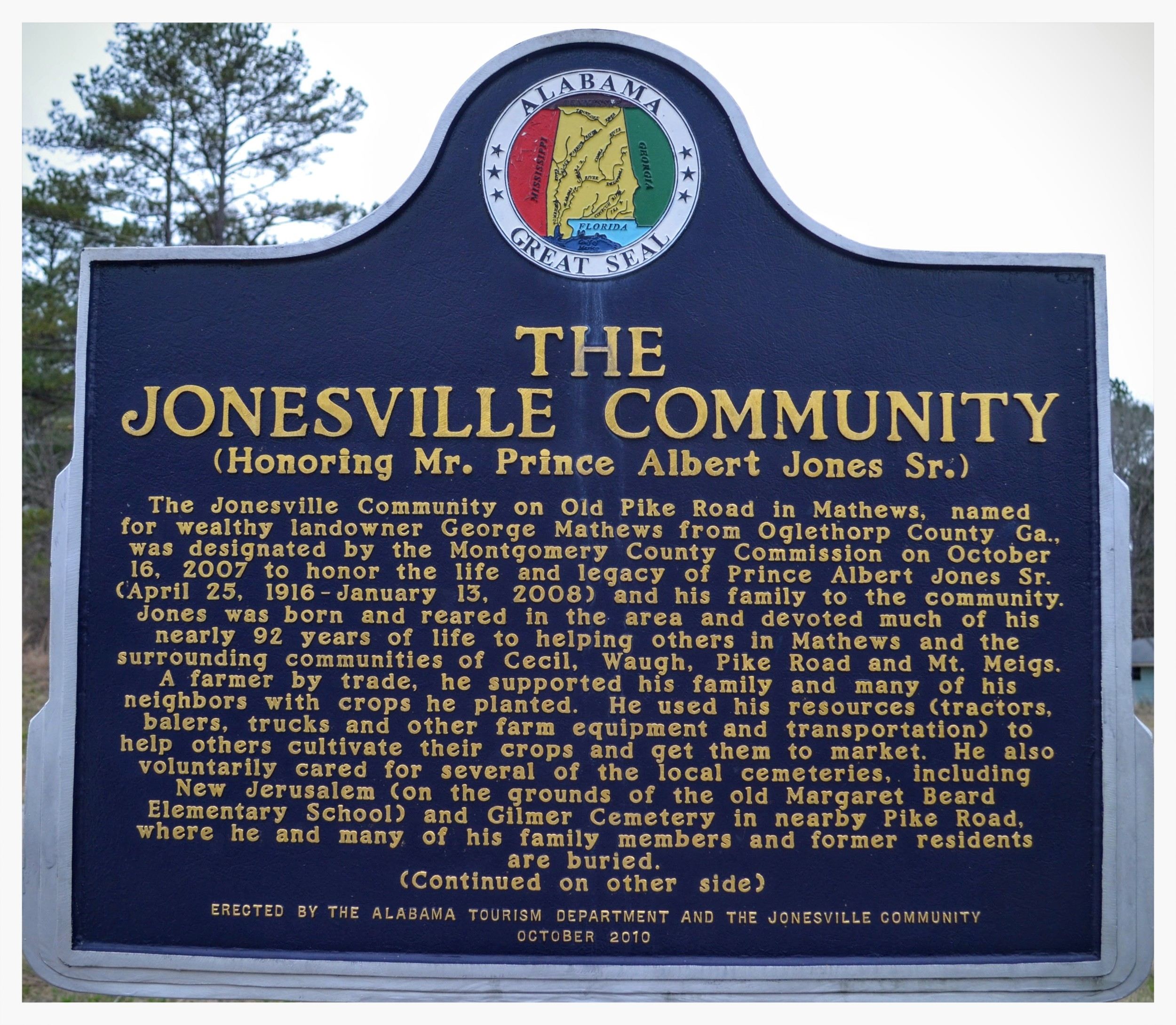Jonesville Community historical marker, side one, Mathews, Montgomery County, Alabama