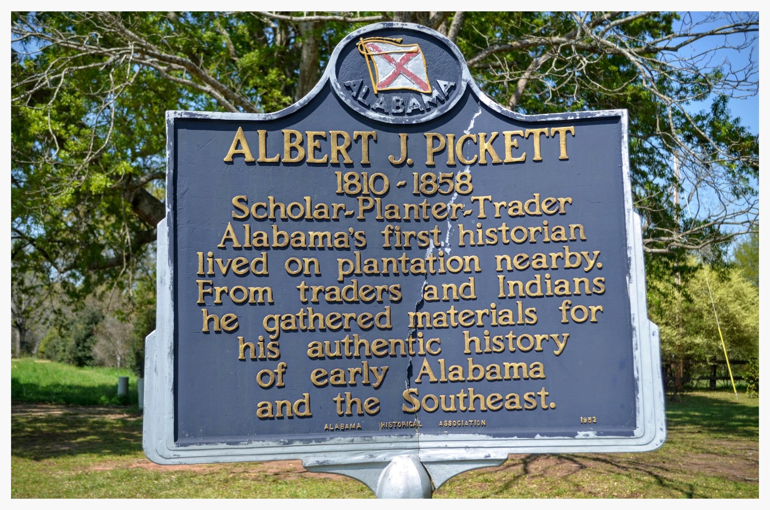 Albert J. Pickett historical marker, Autaugaville, Autauga County, Alabama