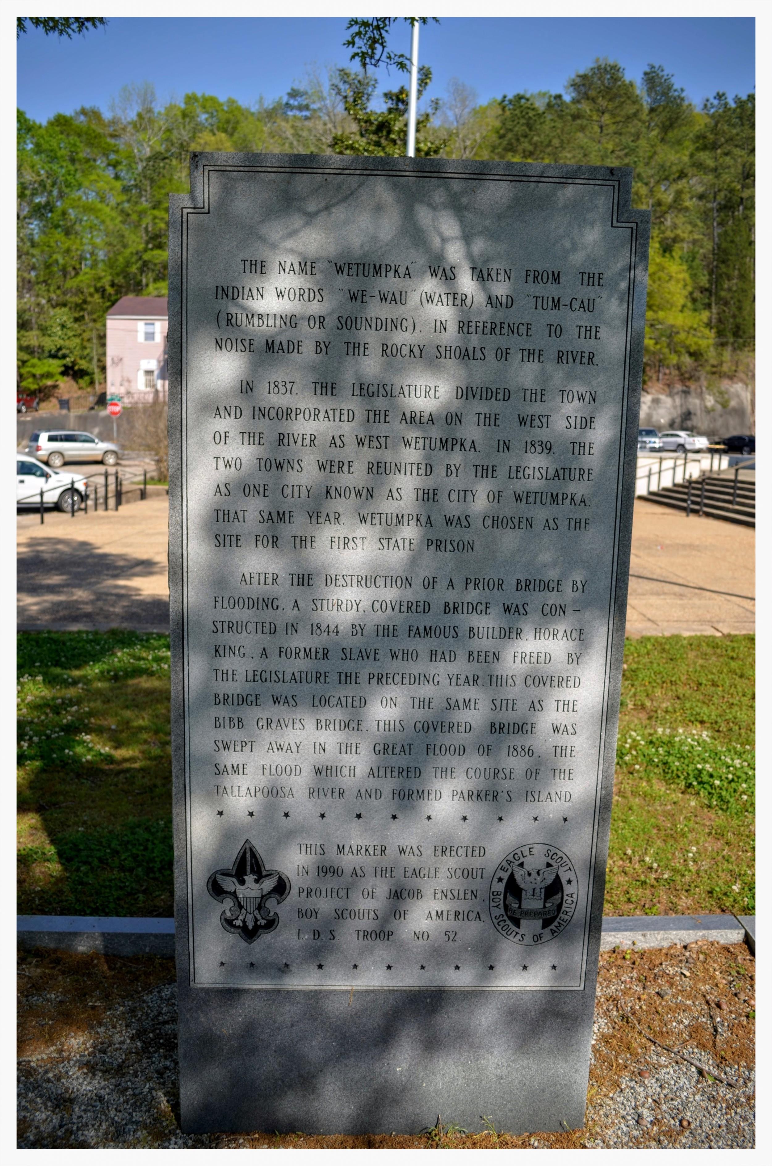Wetumpka stone historical marker side 2, Wetumpka, Elmore County, Alabama