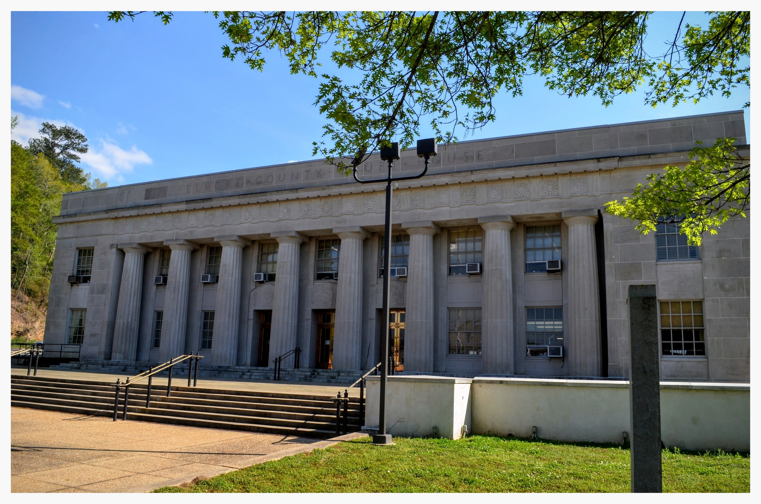 Elmore County Courthouse, site of the Wetumpka stone historical marker, Wetumpka, Elmore County, Alabama