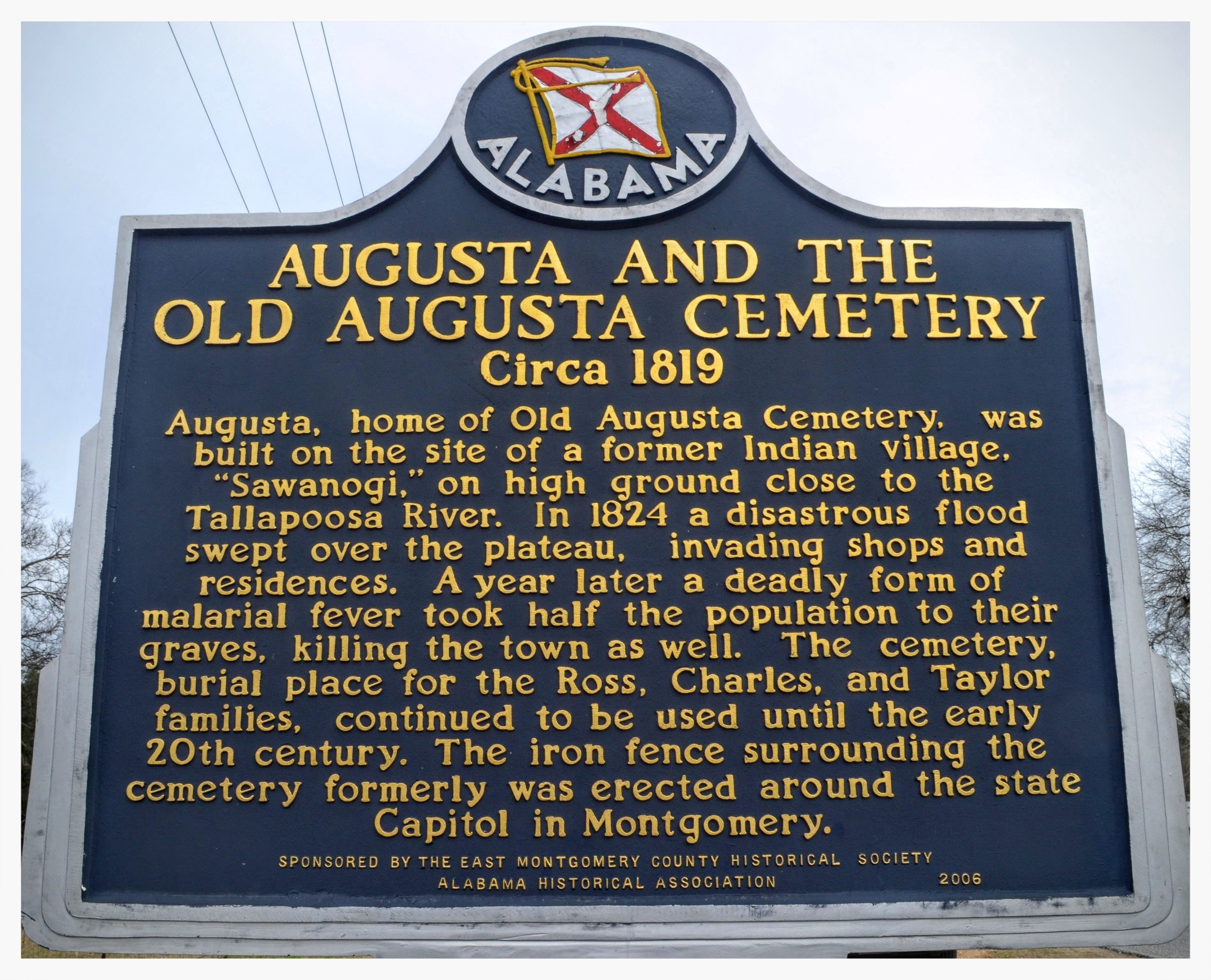 Old Augusta Cemetery historical marker, Montgomery, Montgomery County, Alabama