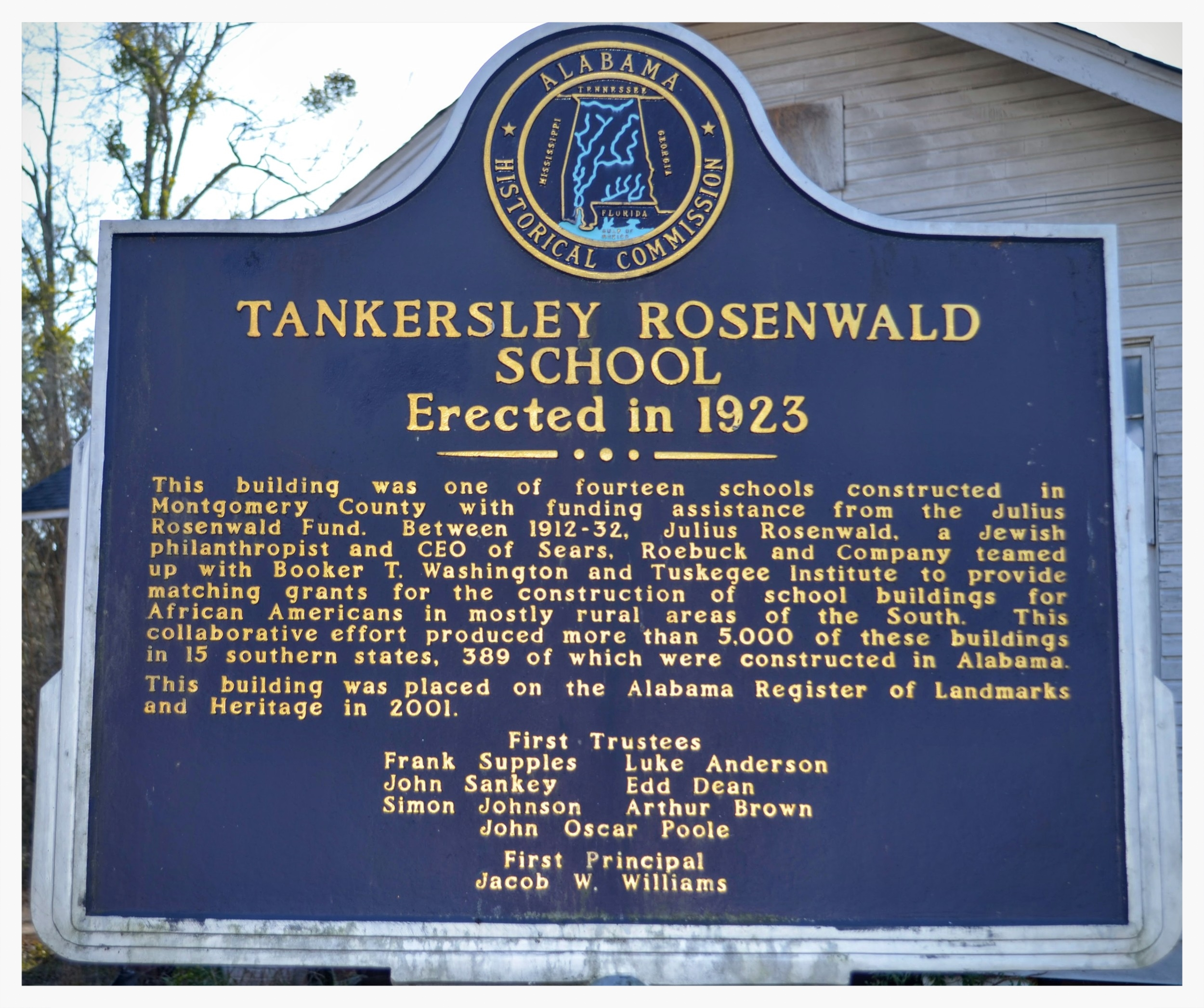 Tankersley Rosenwald School historical marker, Hope Hull, Montgomery County, Alabama