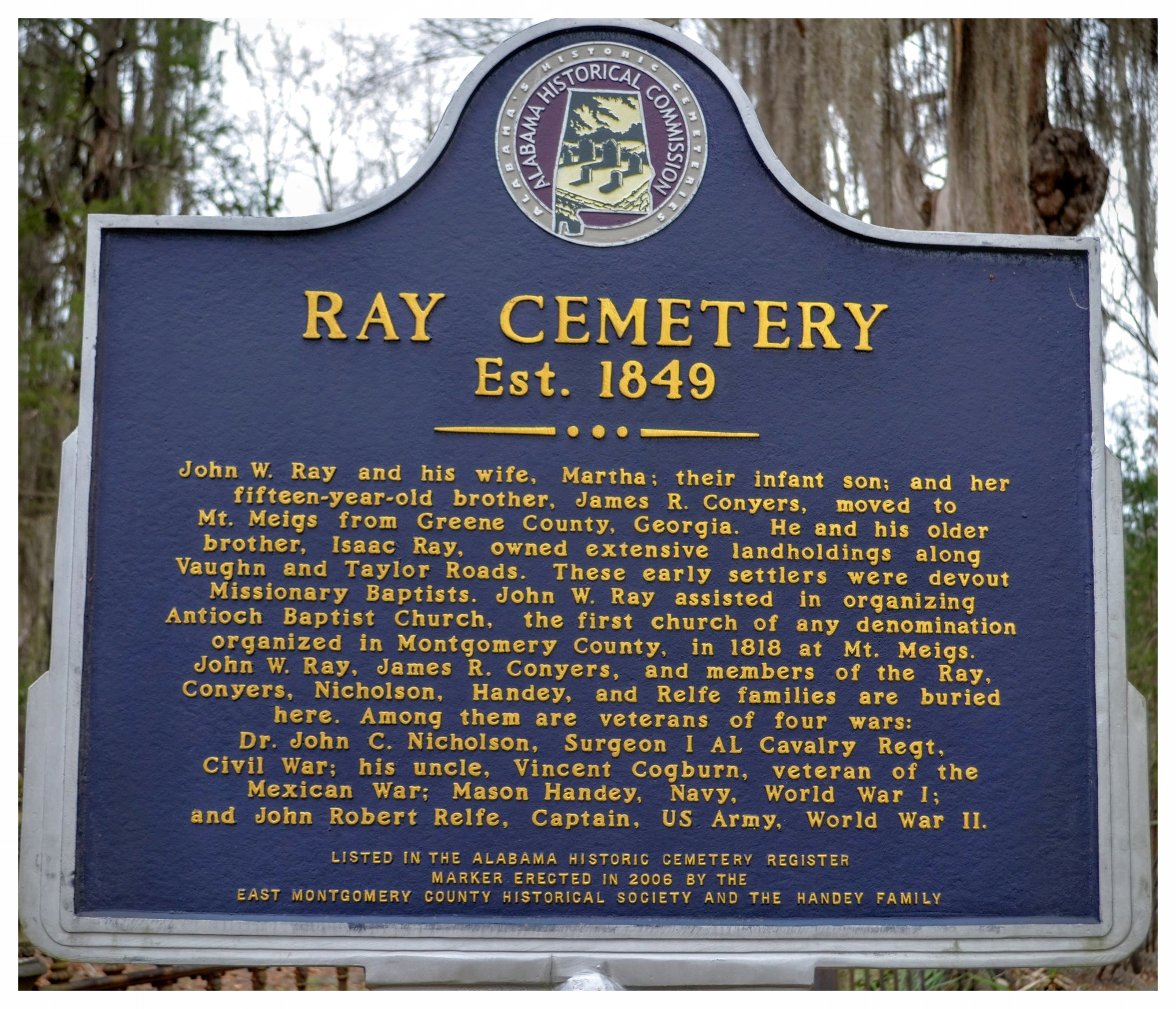 Ray Cemetery historical marker, Montgomery, Montgomery County, Alabama