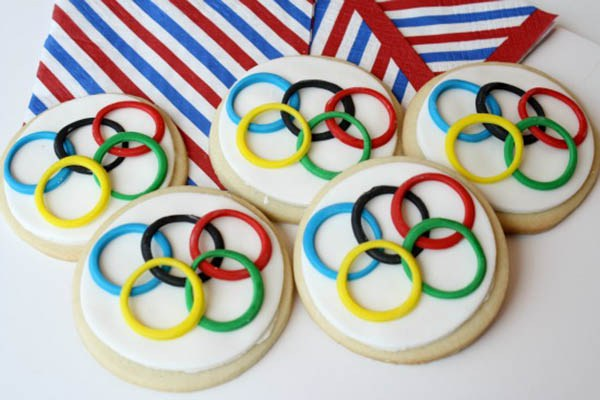 Olympic cookies by  B Lovely Events .