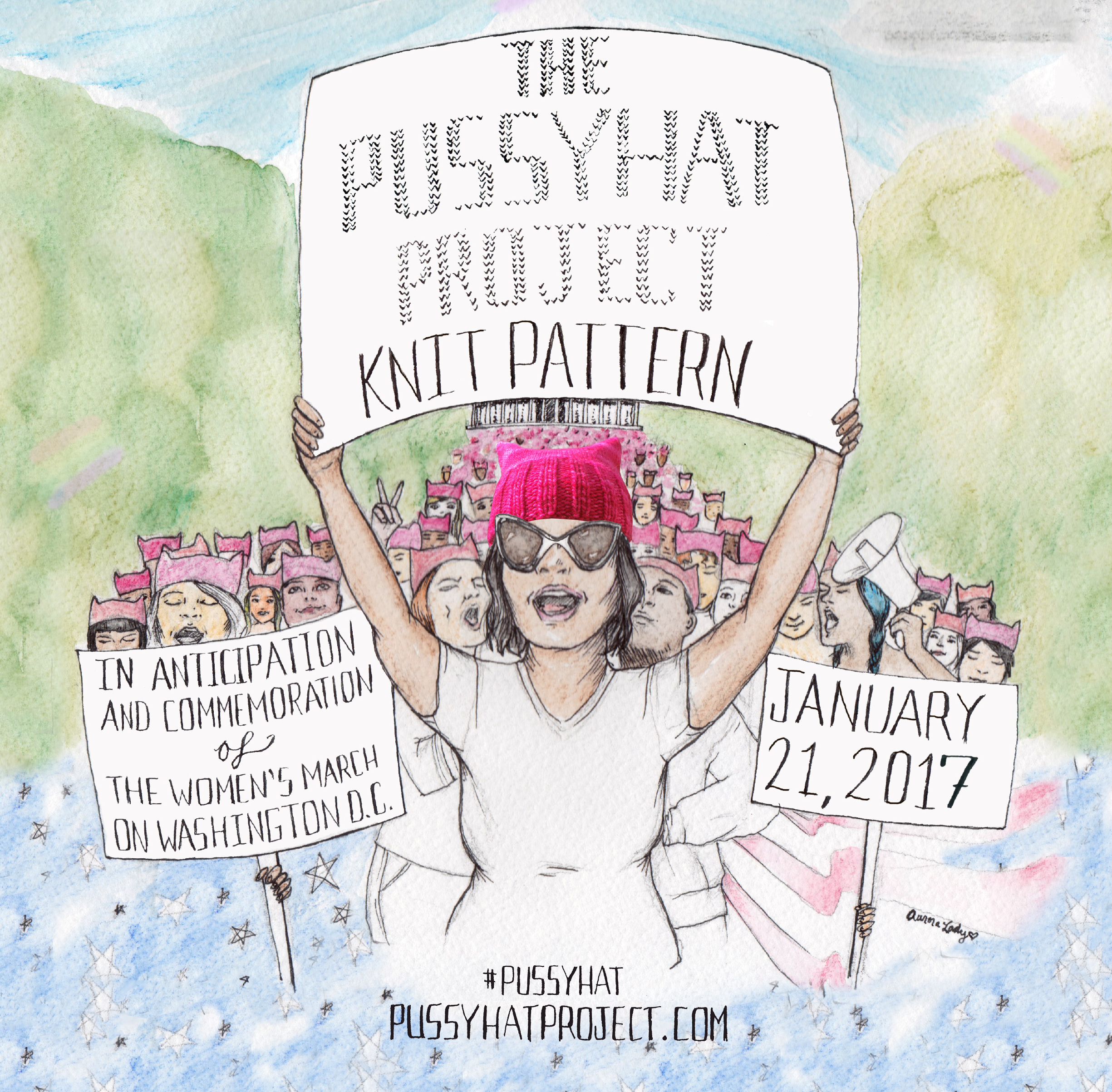 Artwork by  Aurora Lady  for the Pussyhat Project!
