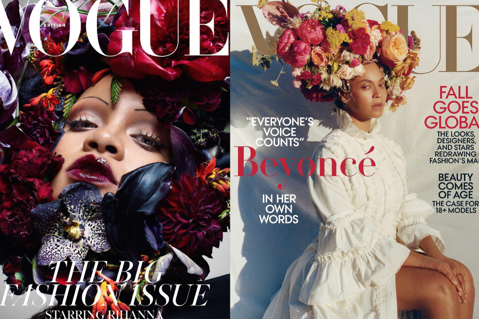 Rihanna covering British Vogue, Beyonce on the cover of Vogue US.