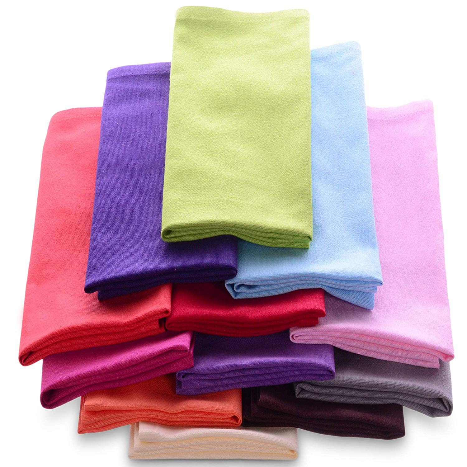 Cotton Dinner Napkins Cloth 20 x 20 100% Natural Bulk Linens for Dinner, Events, Weddings - Magenta, Lime, Ming Red, Stone, Black, Lavender, Grape, Orange, Teal, Navy, Mustard & Leaf, Set of 12