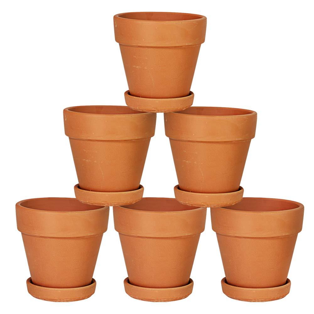 "4"" Terra Cotta Pots with Saucer, Set of 6"