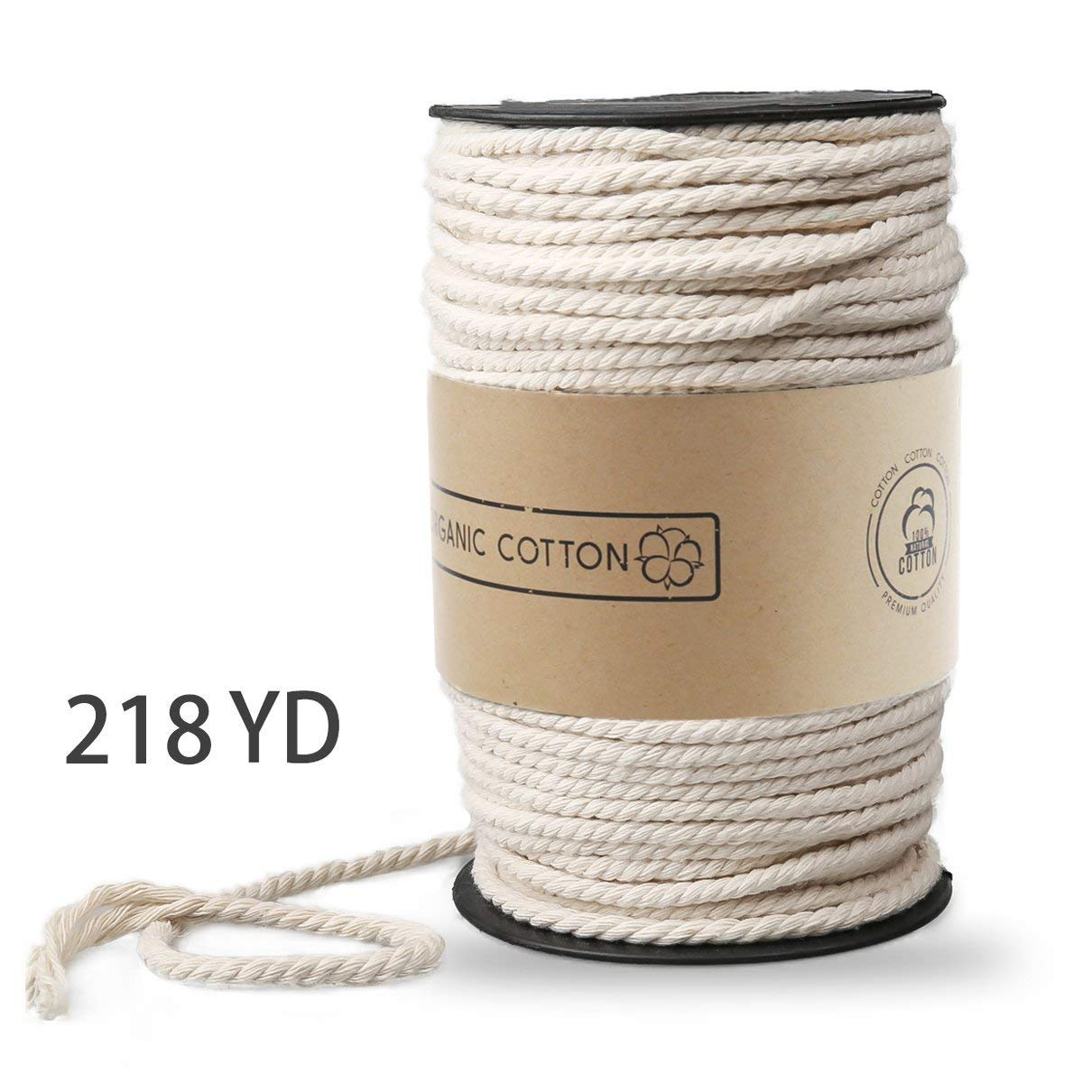 Macrame Cord,  Natural Cotton, 3mm x 220 yd