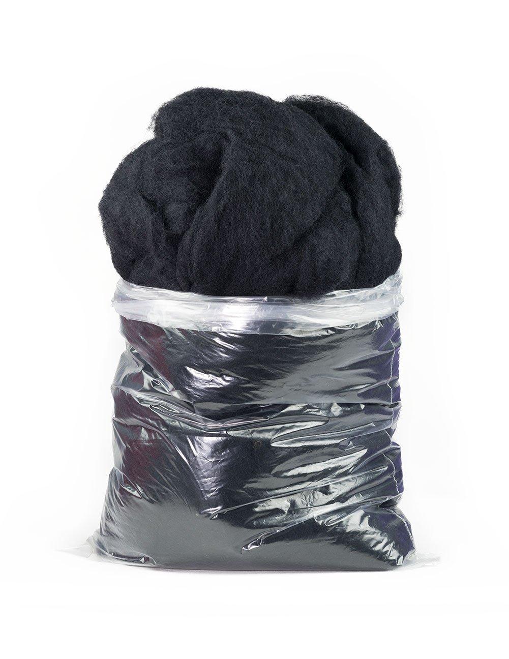 Carded Carbonized Felting Wool: 1 lb Bag, Black