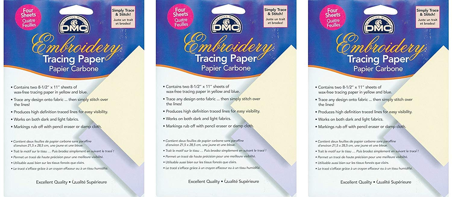 Embroidery Tracing Paper, Yellow/Blue, (3 Pack)