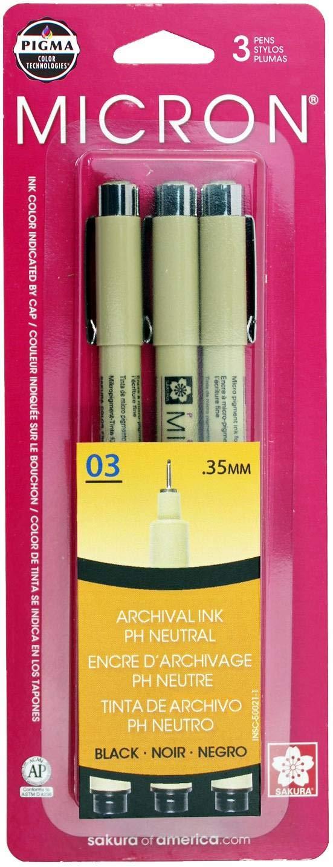 Micron Pen 03, Black, 3pc