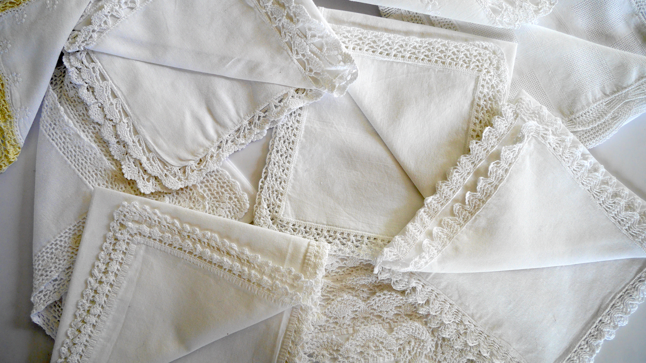 Talea's hand crocheted linen borders, aren't they gorgeous?