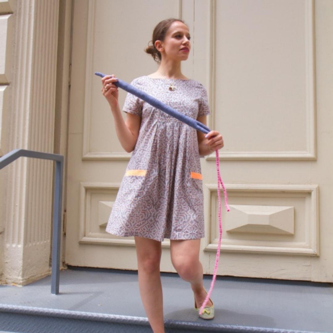 Nora in her own handmade dress.
