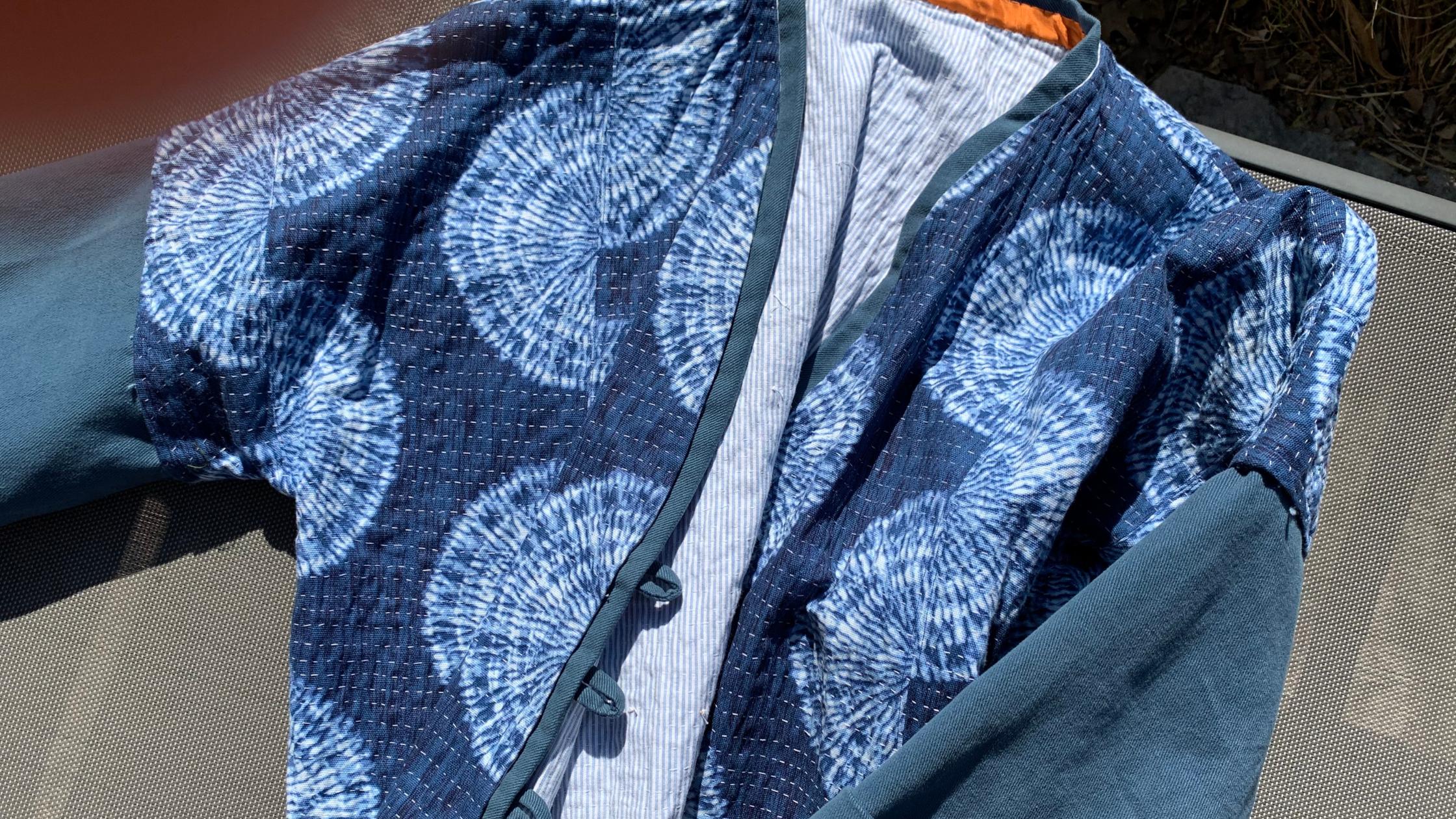 Susan's gorgeous hand-made hand-dyed Shibori jacket!