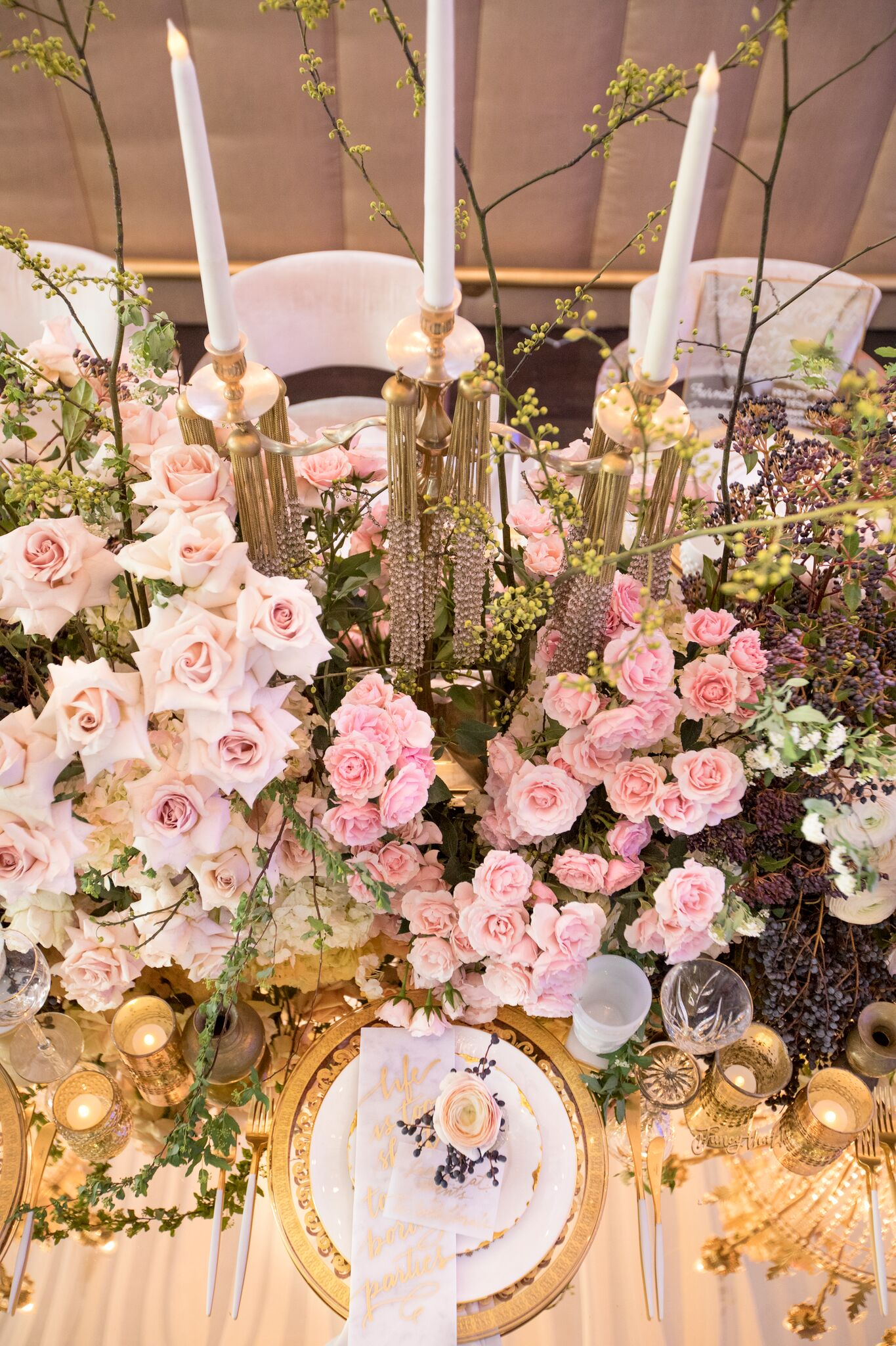 Creative Team:  Floral and Event Designer:  Eddie Zaratsian   Rentals:  Revelry Event Designers   Planning:  Fancy That! Events   Venue:  Vibiana   Tabletop Rentals:  Borrowed Blu   Catering: Rafi's Pastry