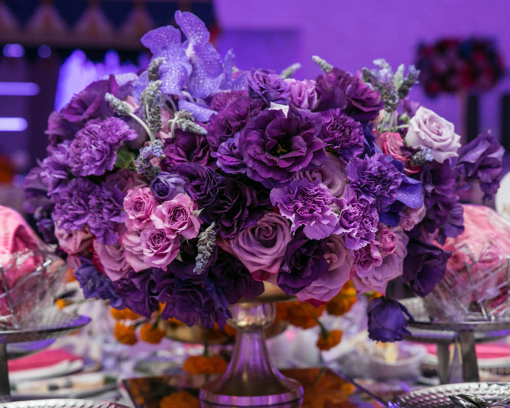Purple, plum and pink floral arrangement by Eddie Zaratsian Lifestyle and Design, Photo by Photos by Silvie