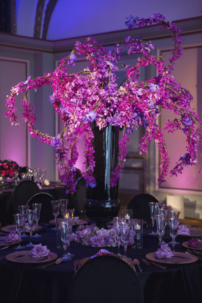 Pink, purple and black floral centerpiece designed by Eddie Zaratsian Lifestyle and Design, Photo by Melody Melikian