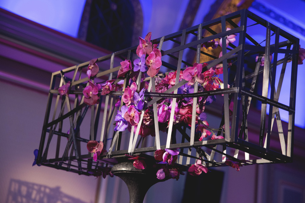 Modern pink, purple and black floral centerpiece designed by Eddie Zaratsian Lifestyle and Design, Photo by Melody Melikian