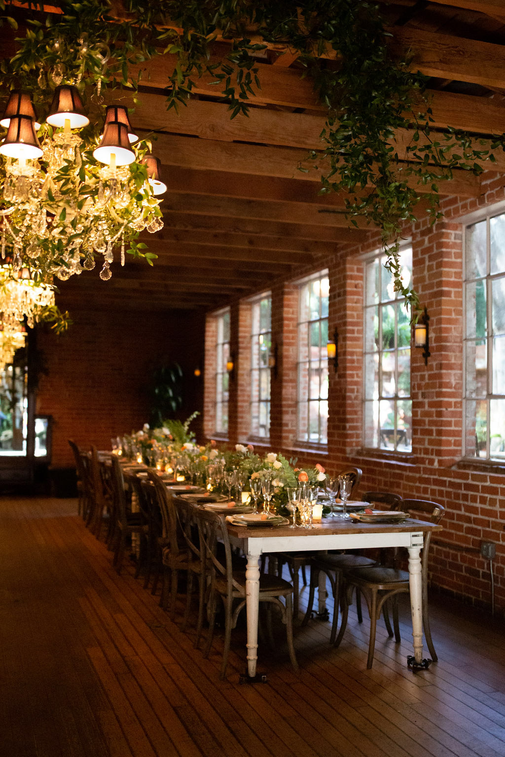 Rustic dinner party with long farm tables designed by Eddie Zaratsian for the Allison Webb Spring 2019 Bridal Collection, Photo by Jessica Grazia Mangia Photography