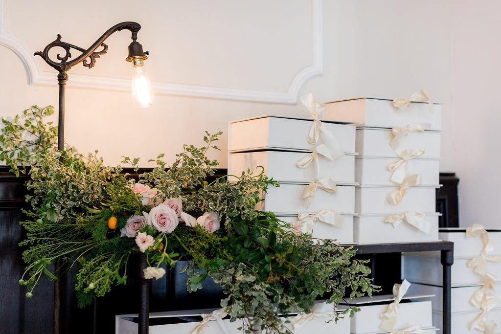 Pretty gift station at the Allison Webb Spring 2019 Bridal Fashion Event, Designed by Eddie Zaratsian, Photo by Jessica Grazia Mangia Photography
