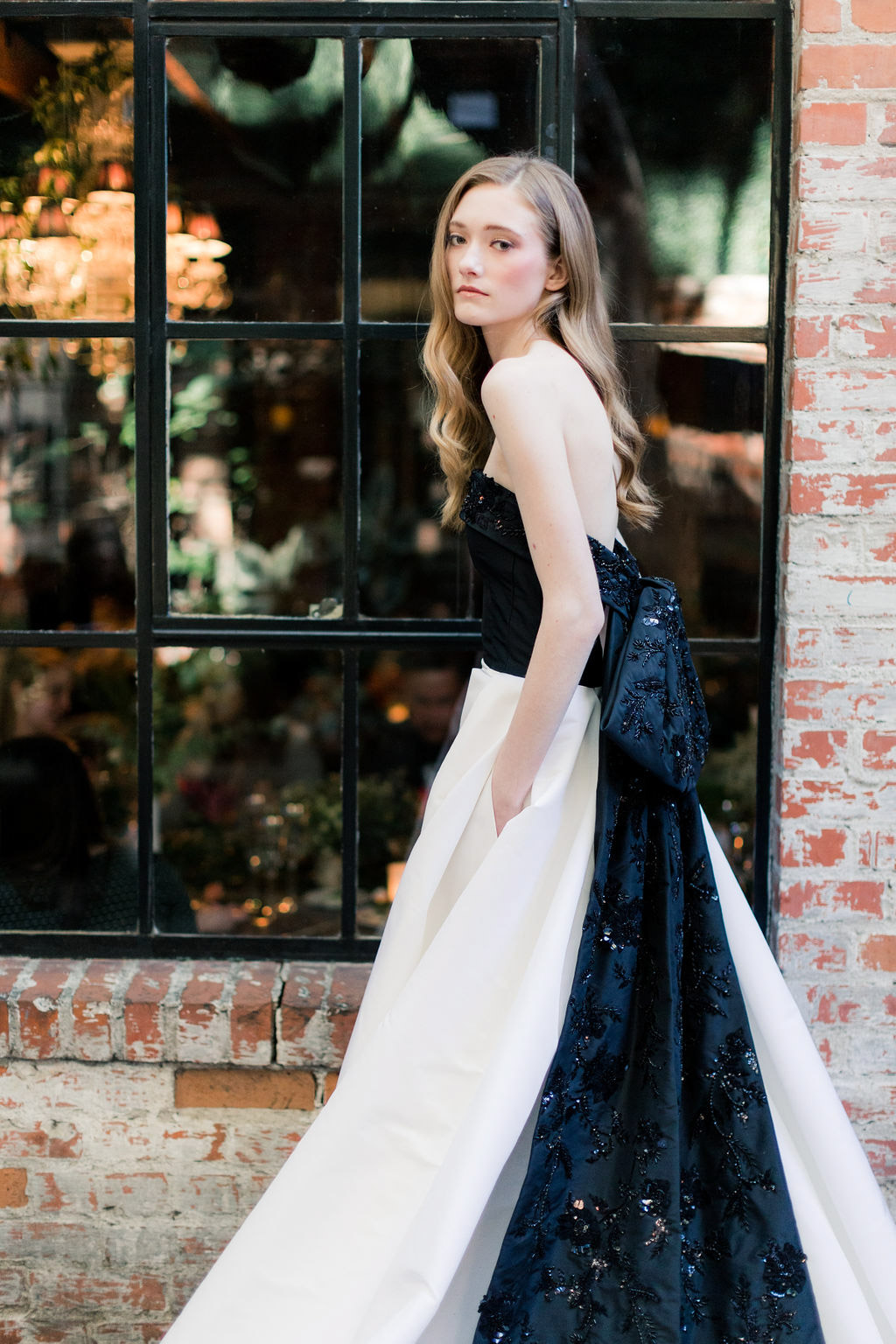 Black and White Kensington dress from the Allison Webb Spring 2019 Bridal Fashion Event in LA, Photo by Jessica Grazia Mangia Photography
