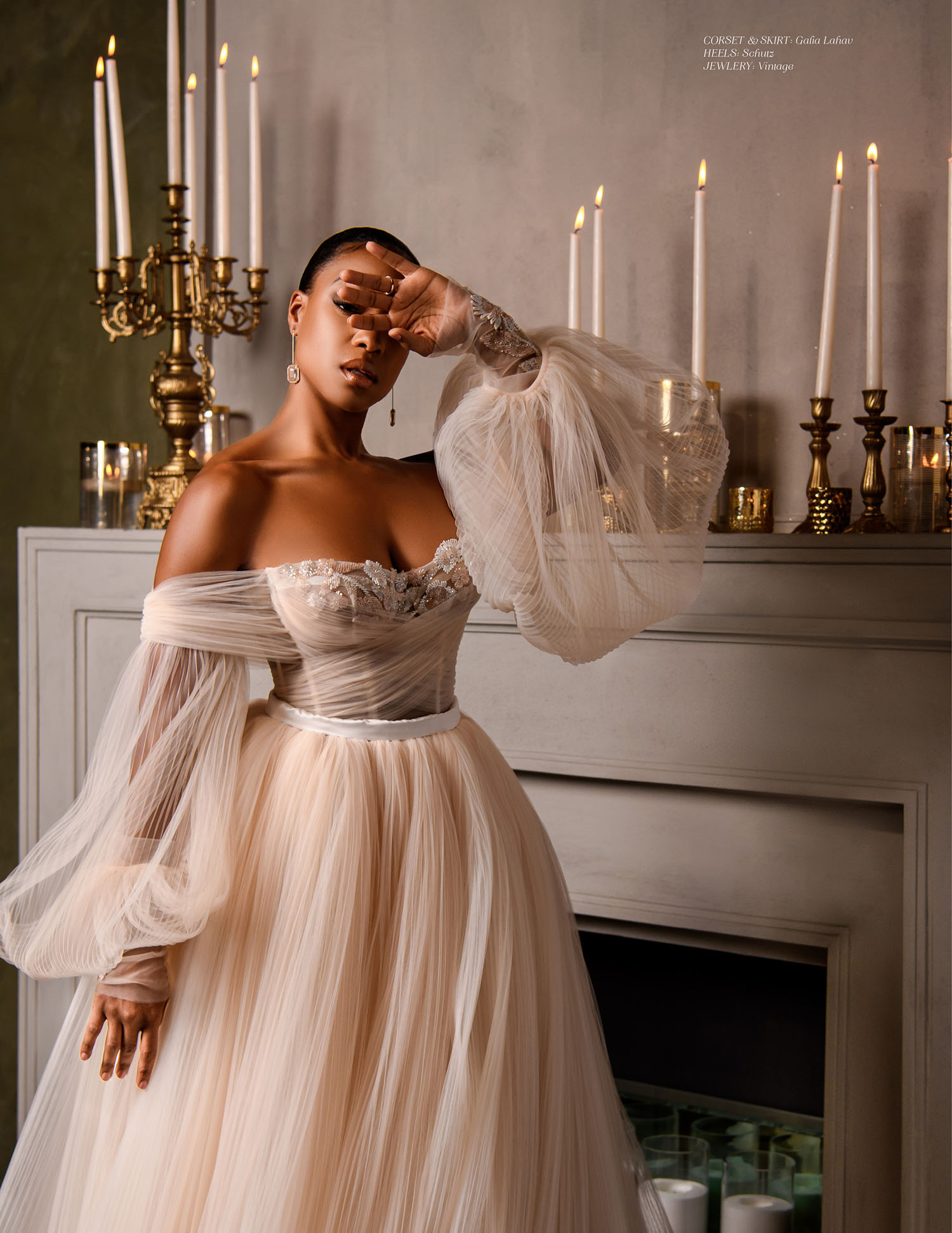 MunaLuchi Bride Winter 2019 Michelle Mitchenor Bridal Shoot - Set design by Eddie Zaratsian - romantic blush wedding gown