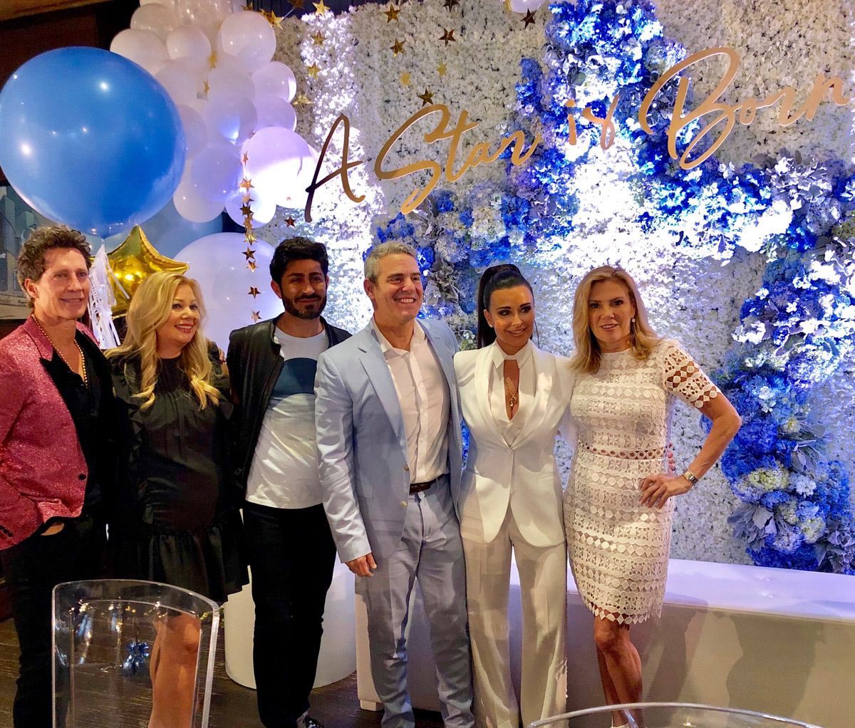 Andy's Cohen Baby Shower - Andy with Bruce Bozzi, Cobalt Events, Eddie Zaratsian, Kyle Richards and Ramona Singer