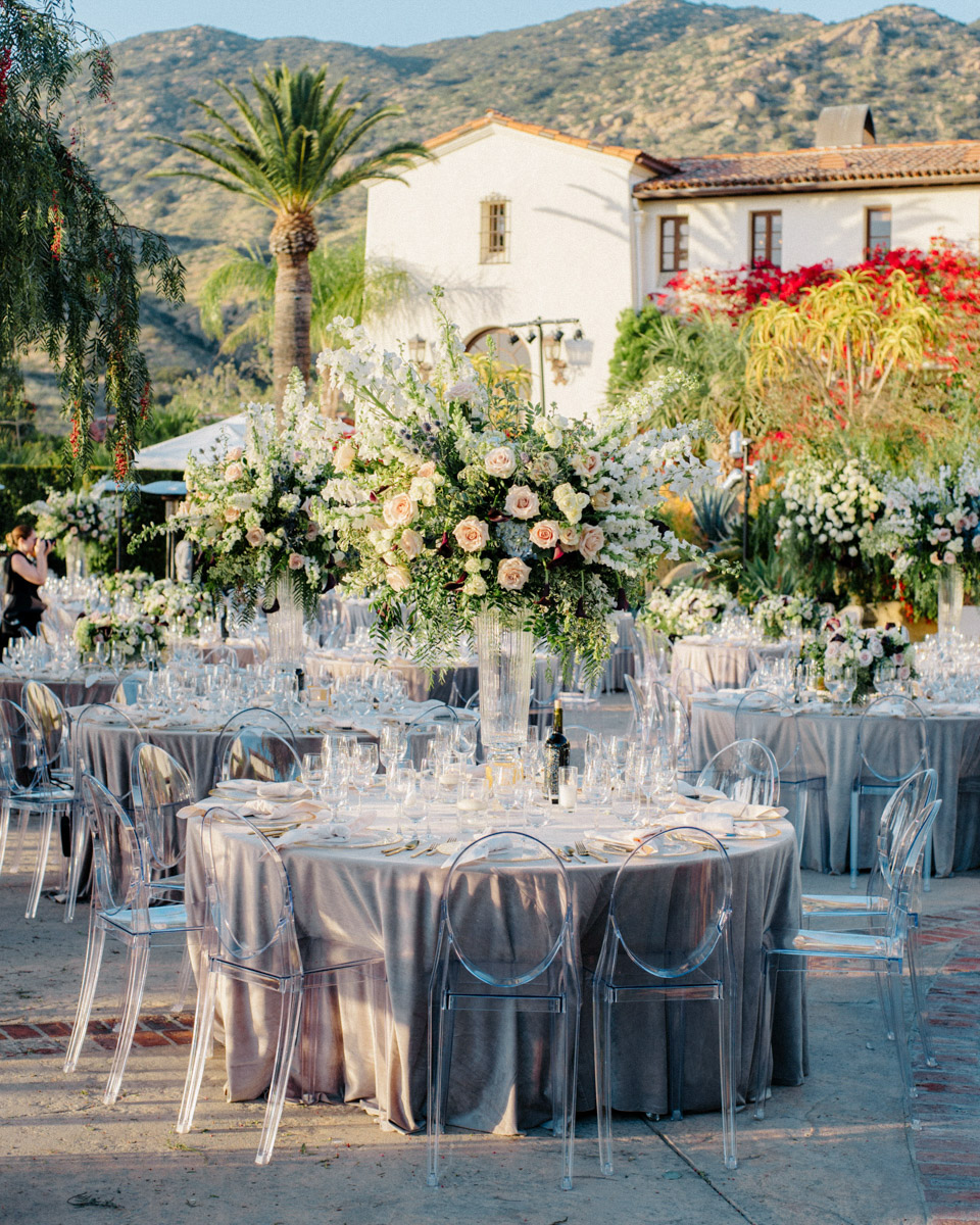 Wedding reception floral design by Eddie Zaratsian - Wedding at Hummingbird Nest Ranch