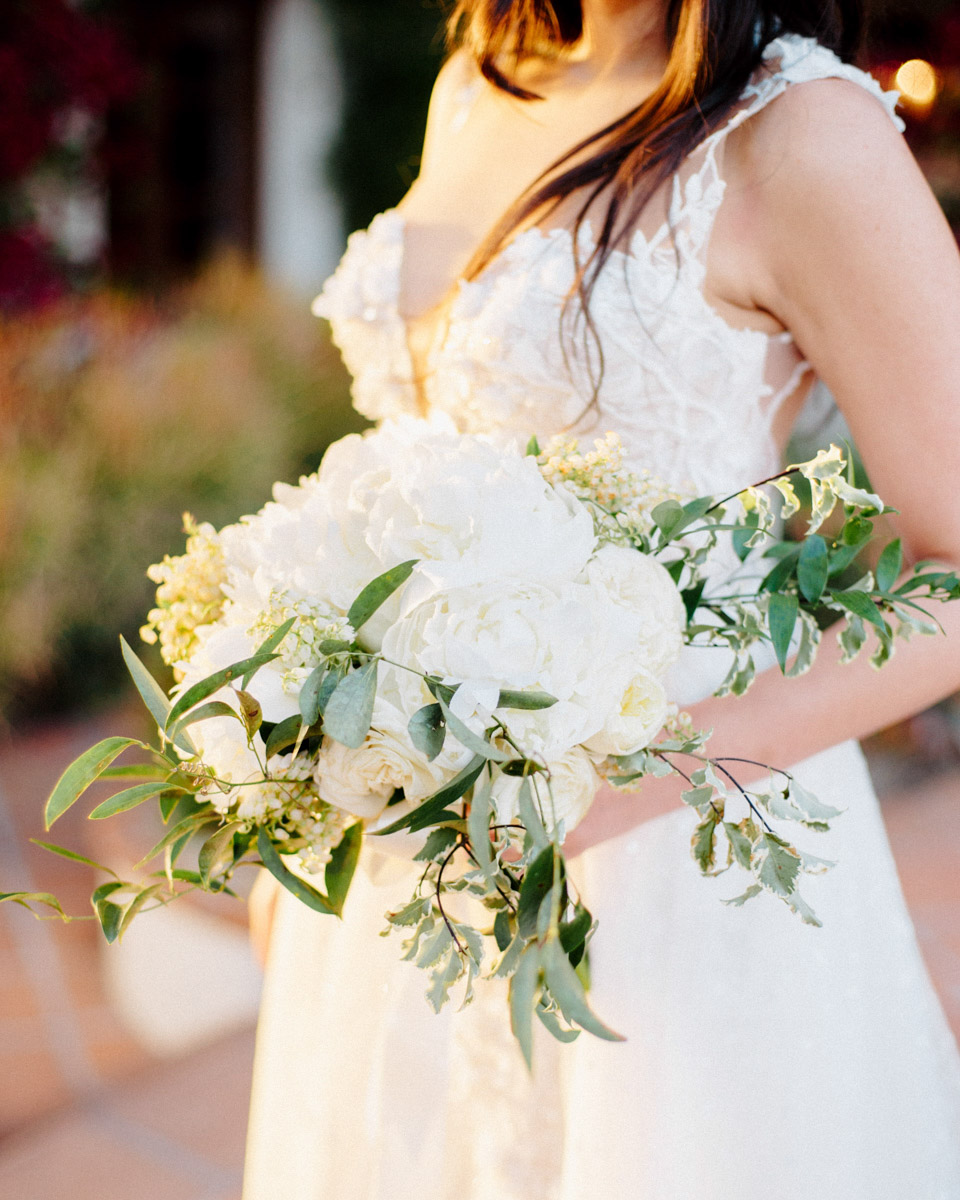 White wedding floral bouquet by Eddie Zaratsian - Wedding at Hummingbird Nest Ranch