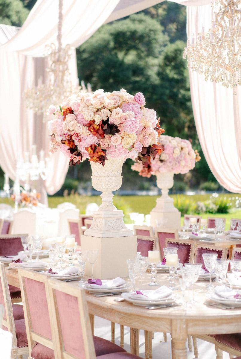 Pink summer garden wedding dinner table floral design by Eddie Zaratsian