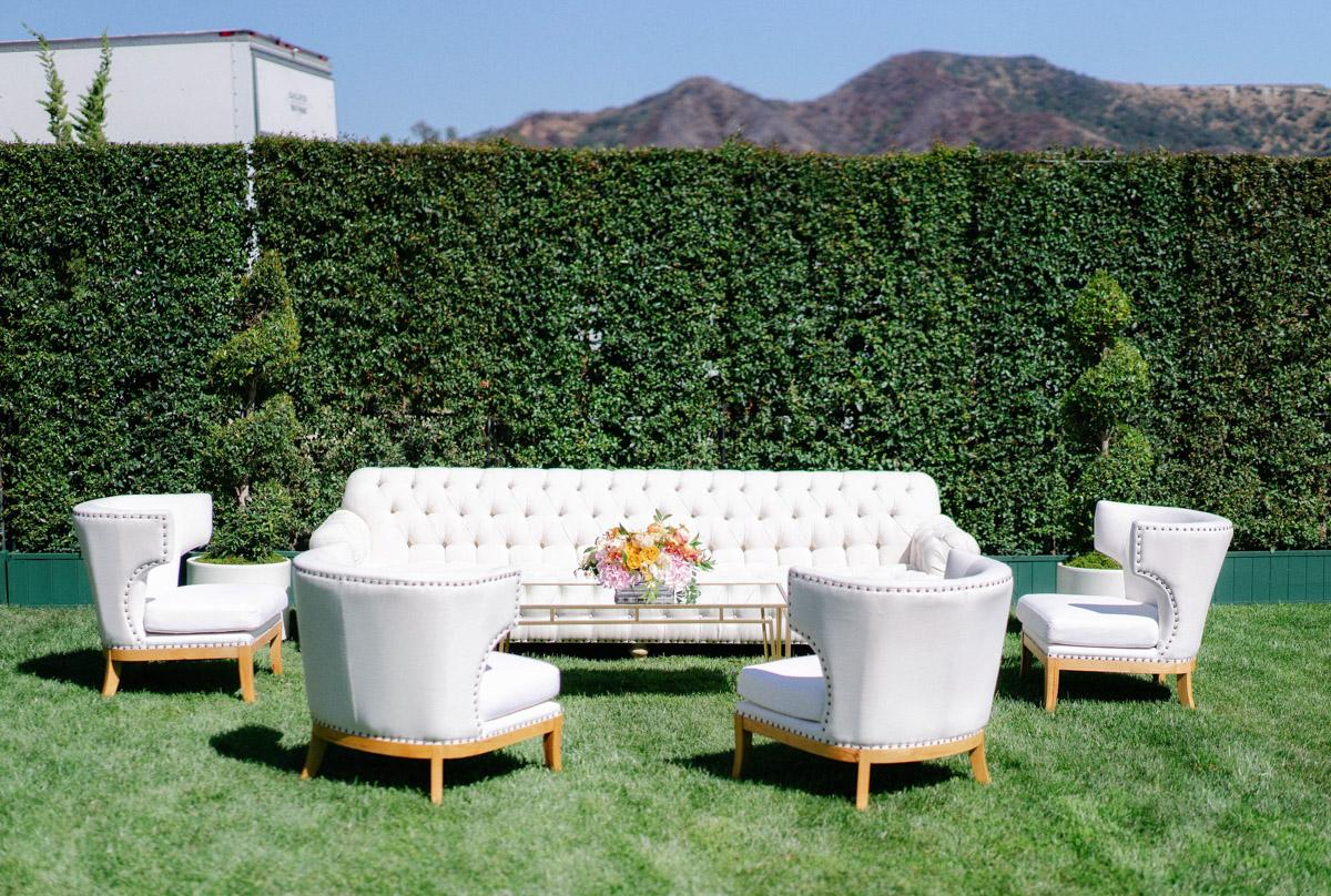 Romantic garden wedding lounge area by Eddie Zaratsian