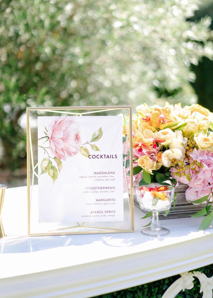 Summer garden wedding bar and custom cocktail menu - floral design by Eddie Zaratsian