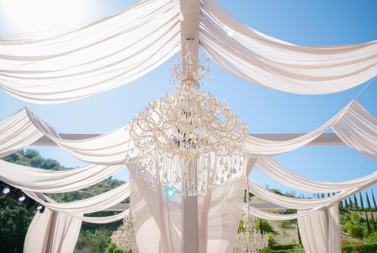 Beverly Hills pink summer garden party wedding reception chandeliers - floral design by Eddie Zaratsian
