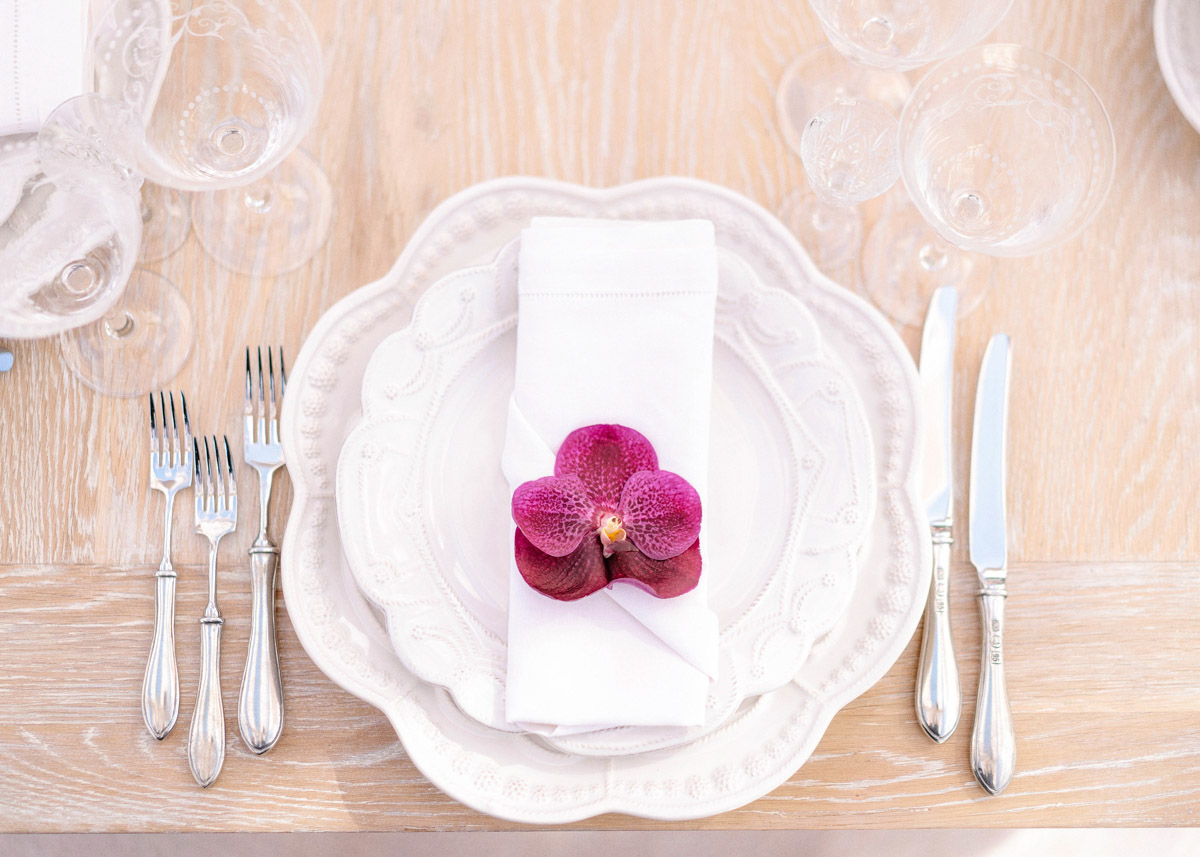Beverly Hills pink summer garden party wedding reception orchid place setting - floral design by Eddie Zaratsian