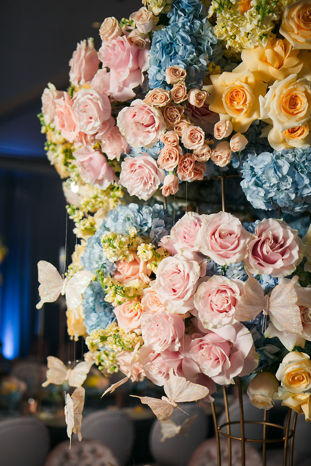 Spring butterfly themed baptism reception - floral design by Eddie Zaratsian