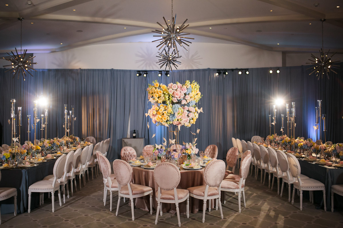 Spring butterfly themed baptism reception tables - floral design by Eddie Zaratsian