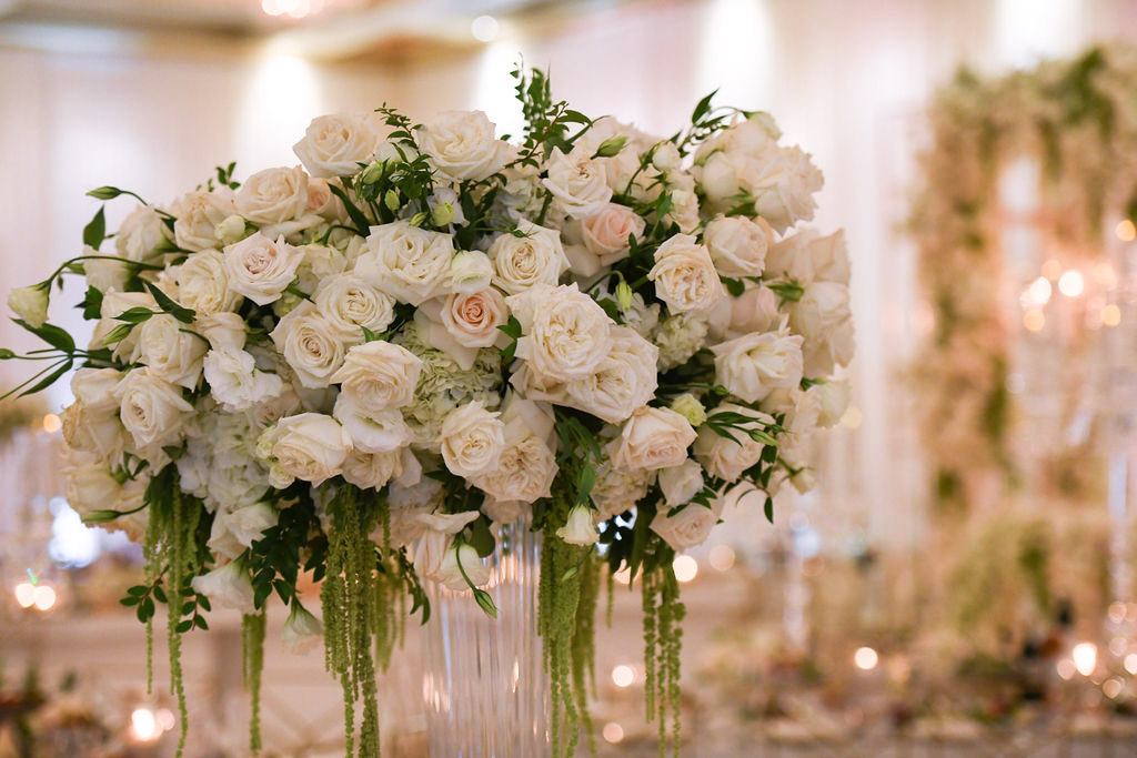 White, green and gold wedding floral design by Eddie Zaratsian Lifestyle and Design