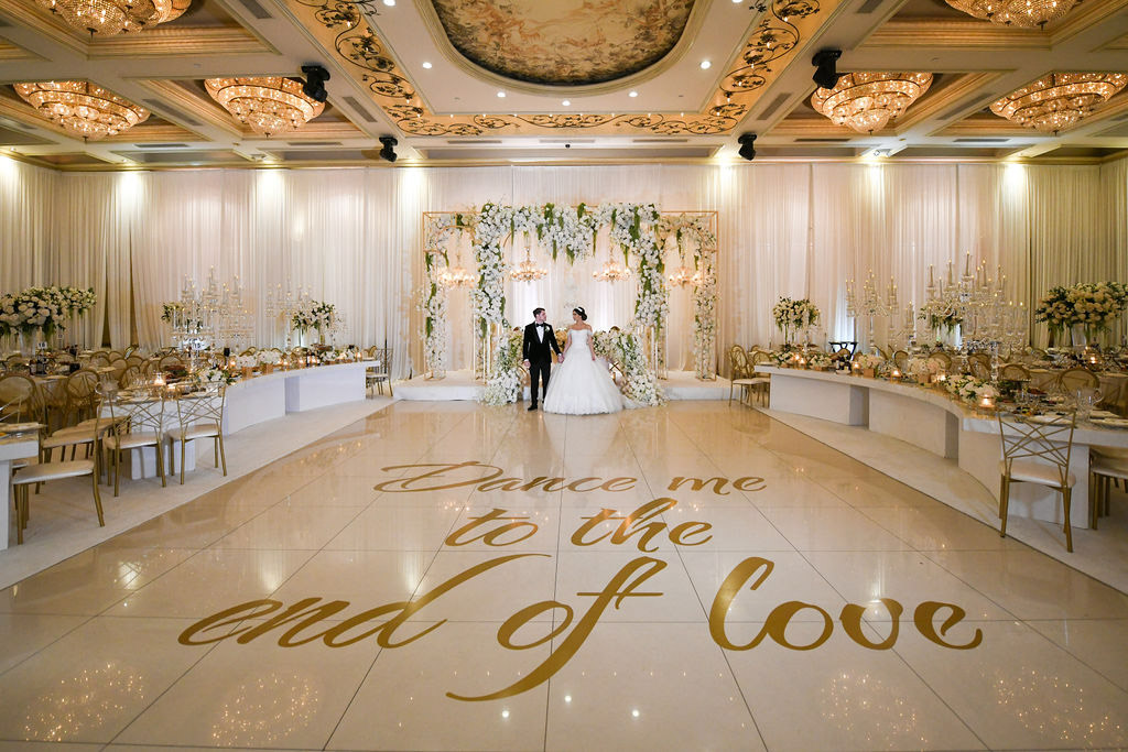 White, green and gold wedding reception dance floor - floral design by Eddie Zaratsian Lifestyle and Design