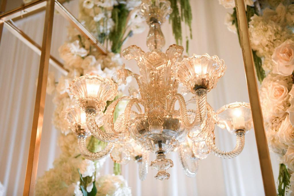 White, green and gold wedding reception chandelier - design by Eddie Zaratsian Lifestyle and Design