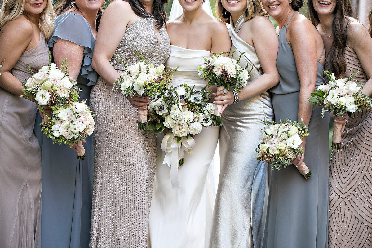 Rustic, organic anemone and rose bridal party bouquets designed by Eddie Zaratsian, Photo by Jessica Claire Photography