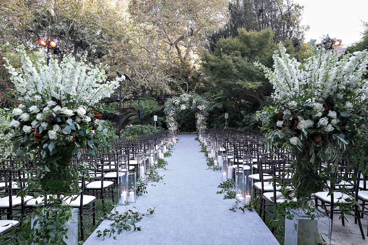 Hotel Bel-Air wedding ceremony florals designed by Eddie Zaratsian, Photo by Jessica Claire Photography