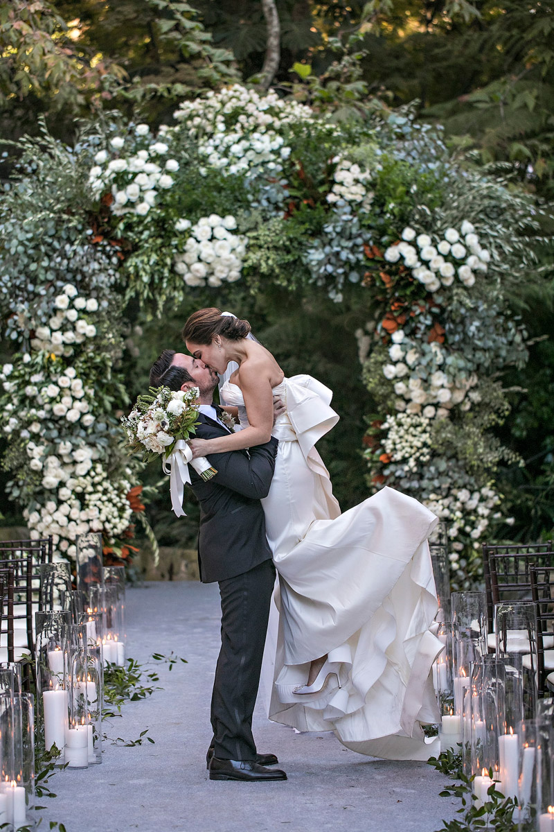 Hotel Bel-Air wedding ceremony floral arch designed by Eddie Zaratsian, Photo by Jessica Claire Photography