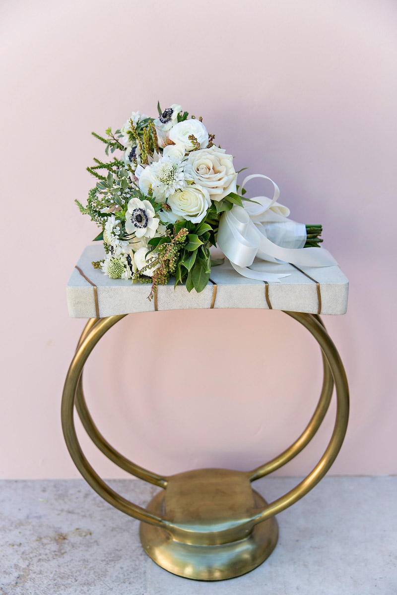 Rustic, organic anemone wedding bouquet designed by Eddie Zaratsian, Photo by Jessica Claire Photography