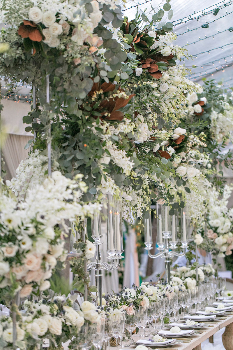 Rustic, organic Hotel Bel-Air wedding table scape designed by Eddie Zaratsian, Photo by Jessica Claire Photography