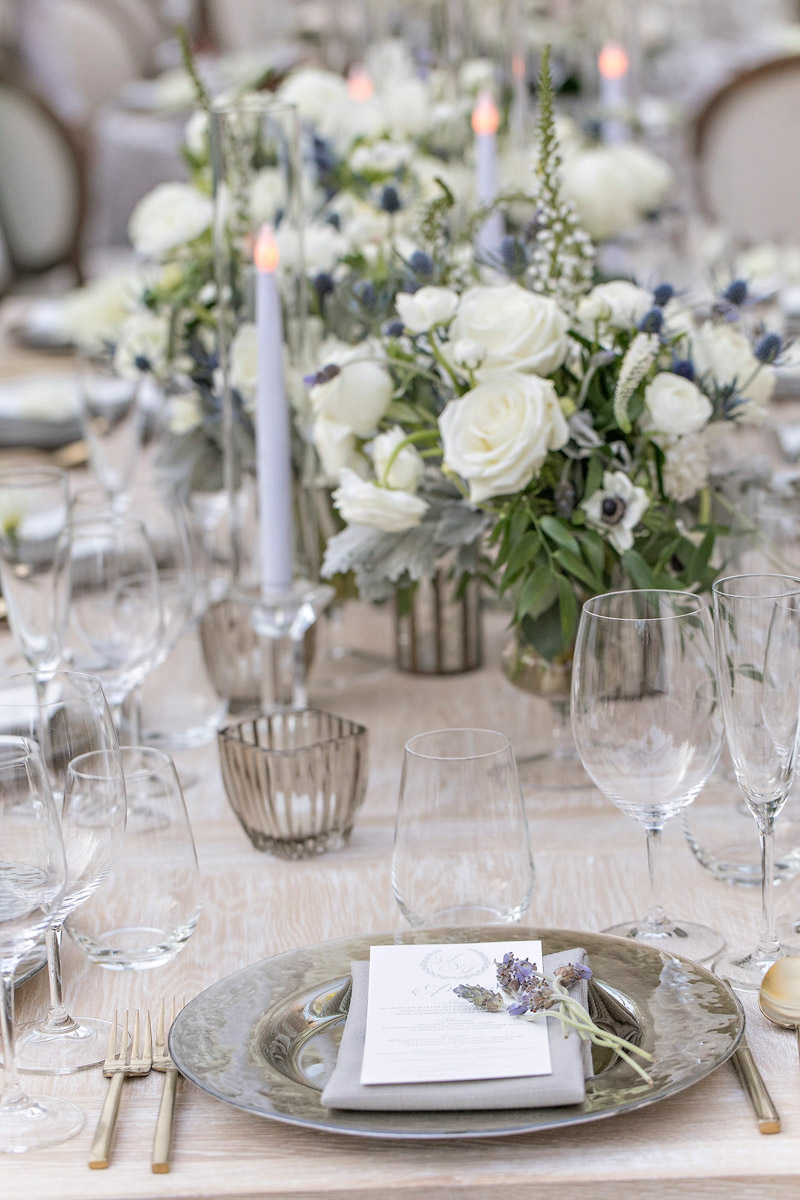 Rustic, organic Hotel Bel-Air wedding table setting designed by Eddie Zaratsian, Photo by Jessica Claire Photography