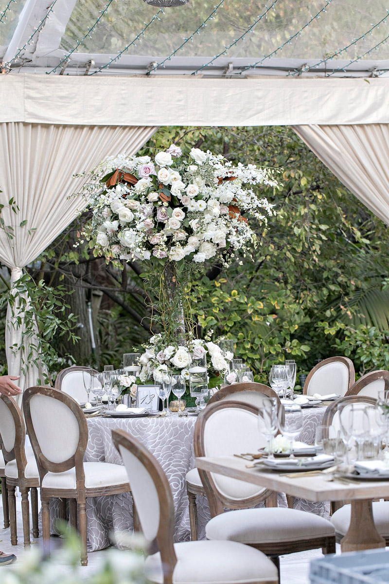 Hotel Bel-Air wedding reception florals designed by Eddie Zaratsian, Photo by Jessica Claire Photography